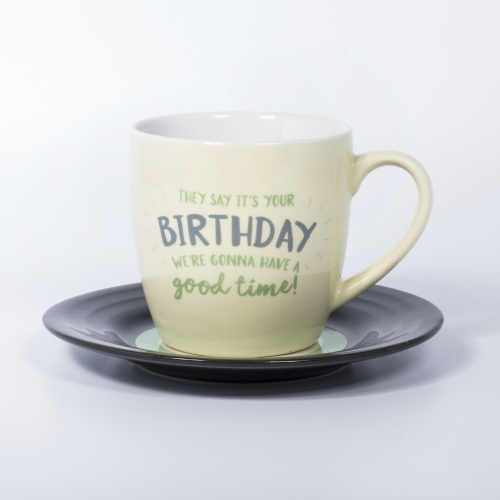L&M Mug and Saucer Set - Birthday
