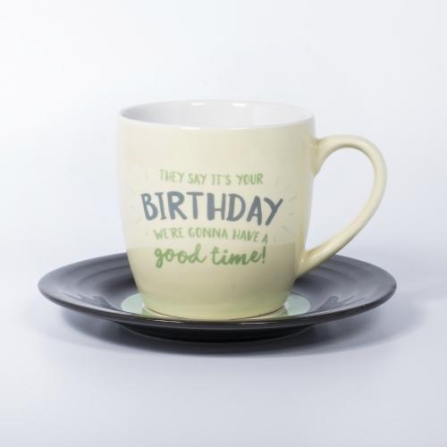 L&M Mug and Saucer Set - Birthday