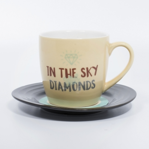 L&M Mug and Saucer Set - Diamonds Large Image