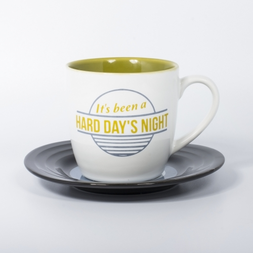 L&M Mug and Saucer Set - Hard Day's Night Large Image