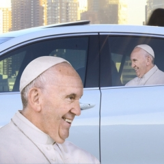 Ride With the Pope - Fenstersticker Papst