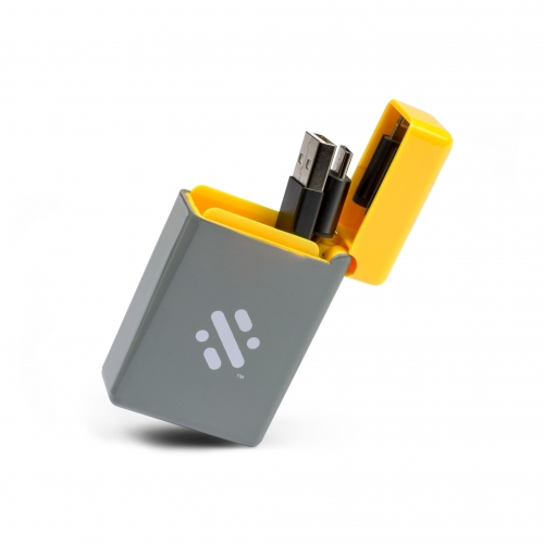 Flip - Rectractable 3 In 1 Charge Cable - Yellow