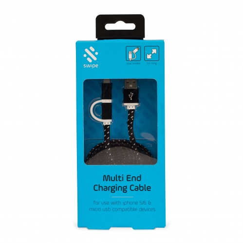 Dual USB Charging Cable - 2m Long Large Image