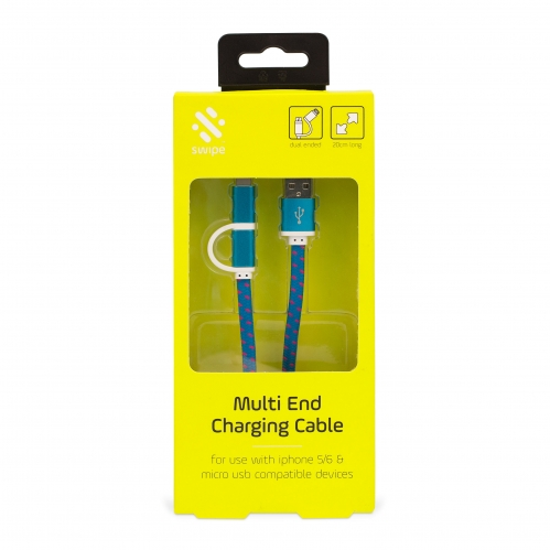 Dual USB Charging Cable - 20cm Long Large Image